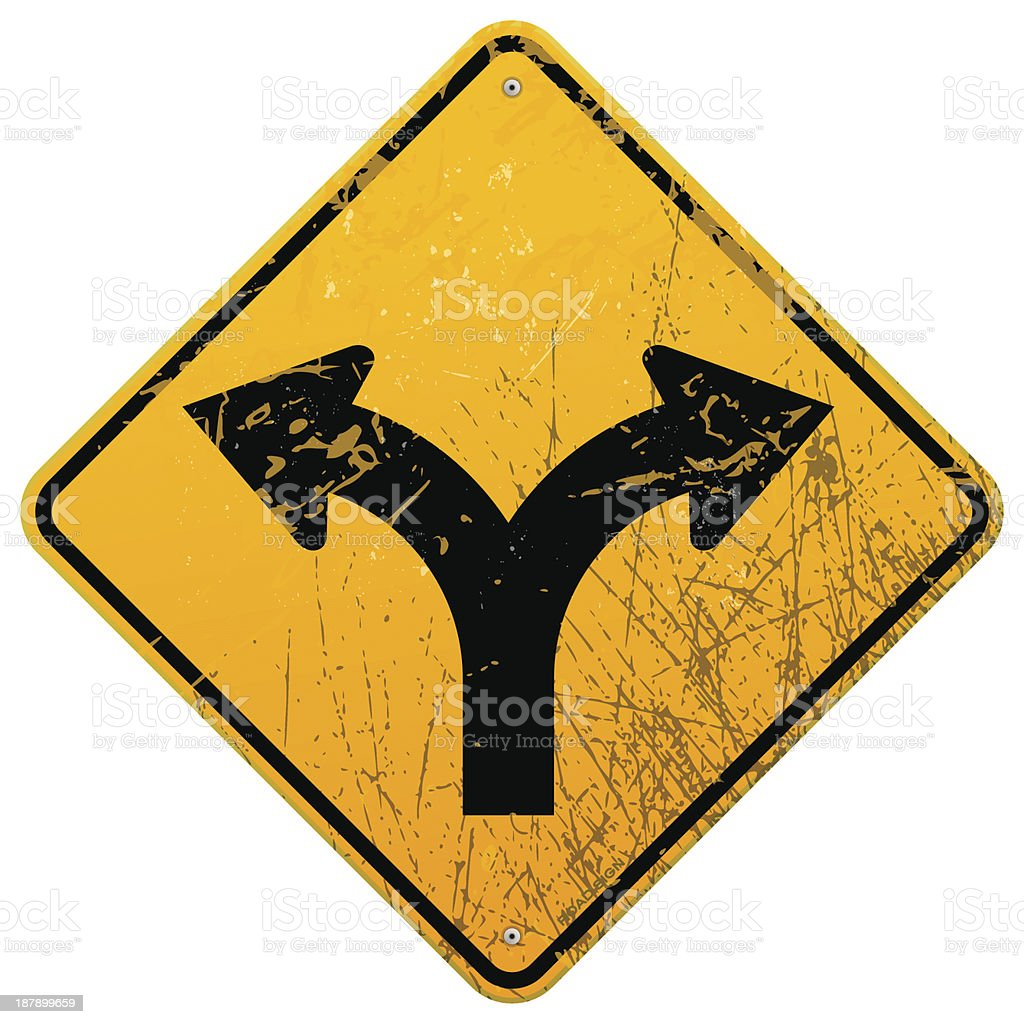 Forked road sign royalty-free stock vector art