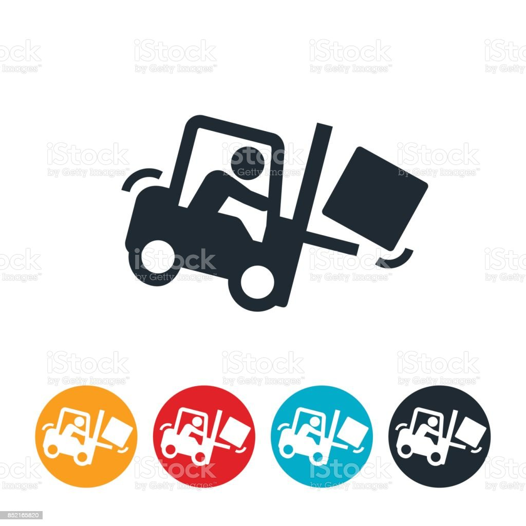 Forklift Accident Icon vector art illustration