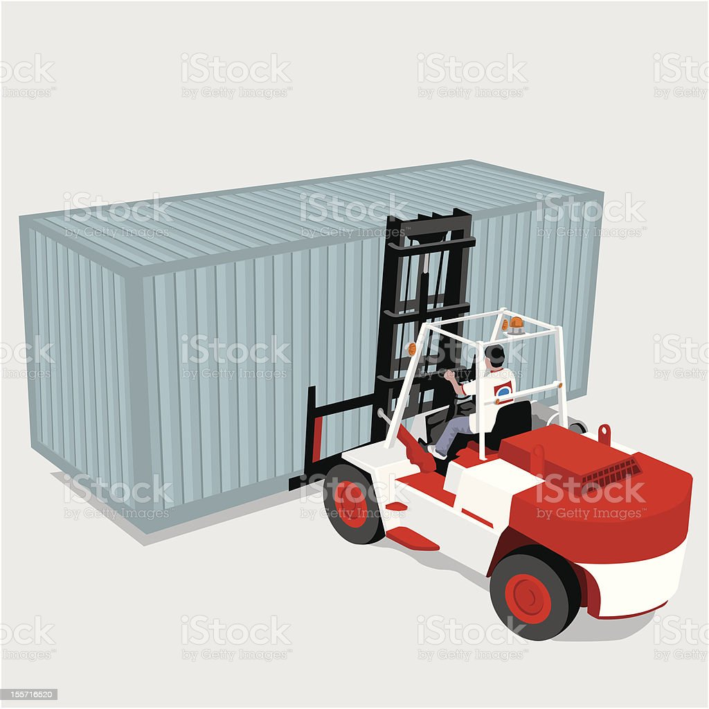 Forklift and container royalty-free stock vector art