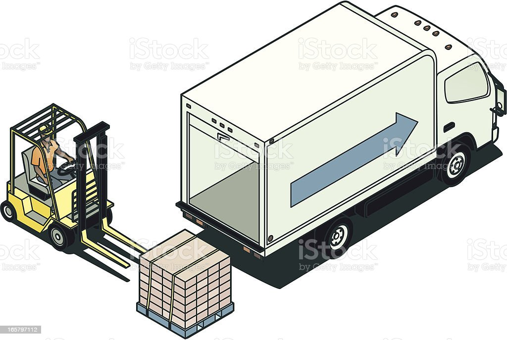 Forklift and Truck Illustration royalty-free stock vector art