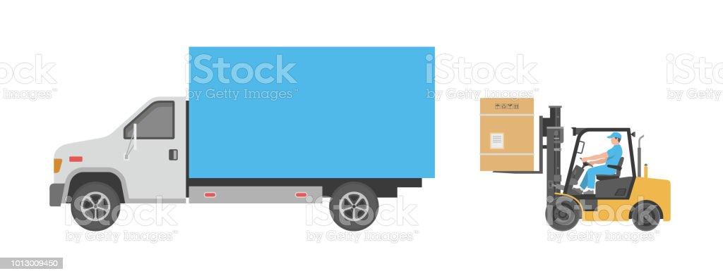 Carretillas y camión - ilustración de arte vectorial