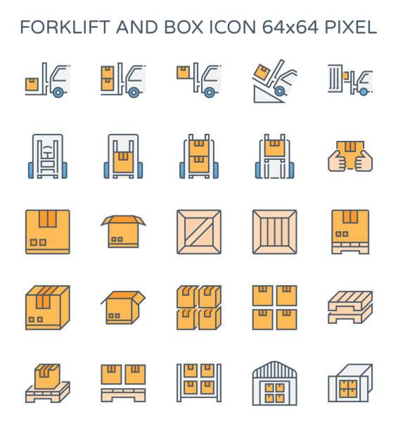 stockillustraties, clipart, cartoons en iconen met heftruck vak pictogram - pallet