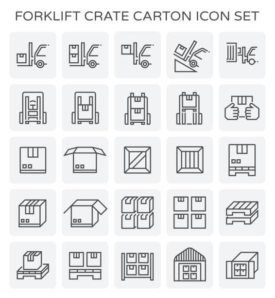 stockillustraties, clipart, cartoons en iconen met heftruck krat karton - pallet