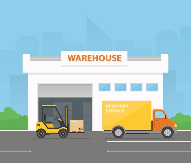 forklift is loading cargo from warehouse to truck. delivery service. logistics center. vector illustration in flat style. - warehouse stock illustrations