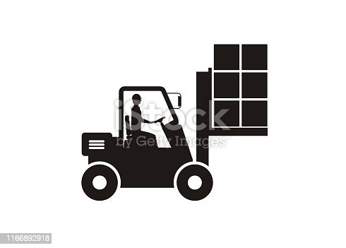 Simple icon illustrating a forklift lifting boxes with the driver inside the cab.