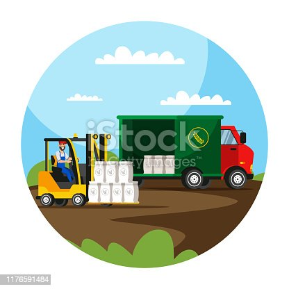 Forklift loading flour sacks in truck illustration. Farmland warehouse worker in automatic loader flat vector character. Cartoon wheat, rye grain in bags round isolated clipart. Agriculture industry