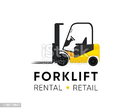 Forklift Logo illustration for Retail Shop, Rental or Repair equipment. Classic Yellow machine vector illustration with Title and Tagline isolated on white.