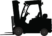 Vector silhouette of a forklift machine.