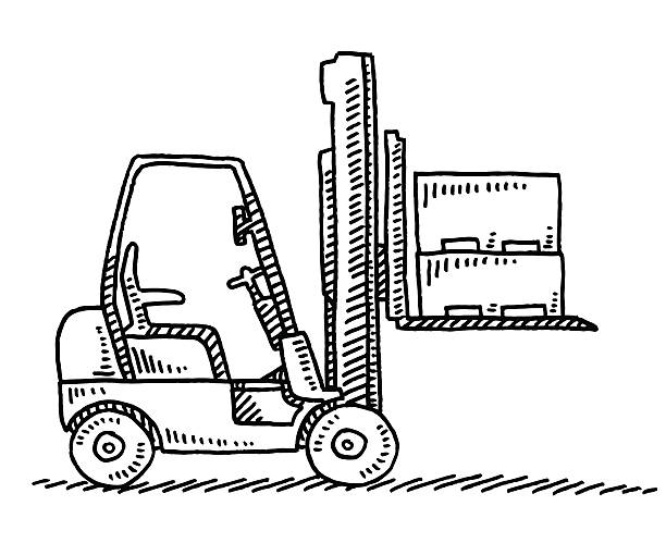 Forklift Side View Drawing Hand-drawn vector drawing of a Forklift carrying heavy parts, Side View. Black-and-White sketch on a transparent background (.eps-file). Included files are EPS (v10) and Hi-Res JPG. transportation stock illustrations