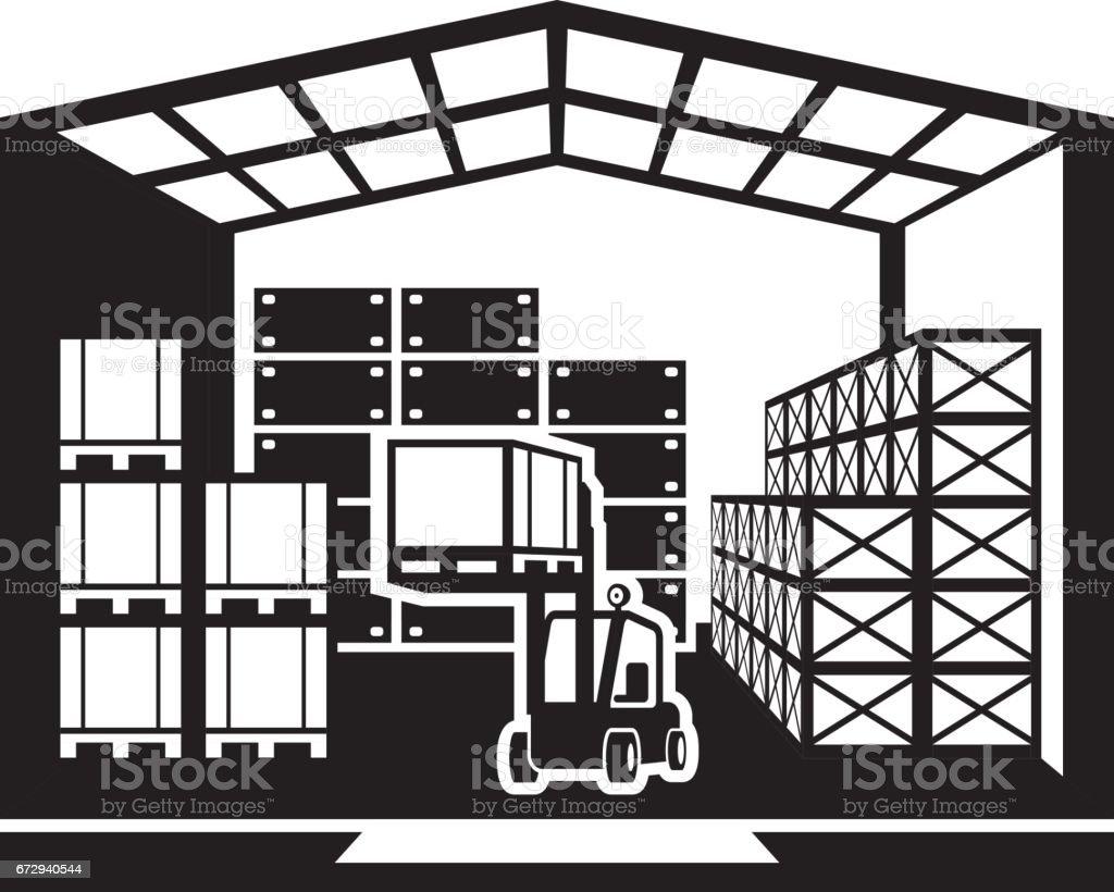 Forklift transports pallets in warehouse vector art illustration