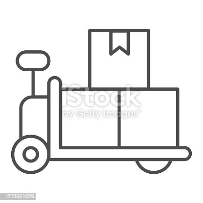 istock Forklift trolley with boxes thin line icon, delivery and logistics symbol, Loaded hand warehouse cart vector sign white background, Manual pallet truck with cardboard icon outline style. Vector. 1223601029