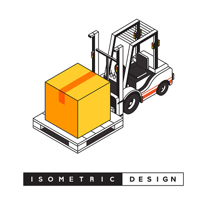 Forklift Truck Concept Isometric Web Banner, Three Dimensional Design for Posters, Covers and Banners