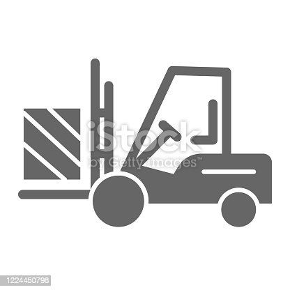 istock Forklift truck delivery solid icon, logistics symbol, Cargo packaging transportation vector sign on white background, Lift truck with box icon in glyph style for mobile and web. Vector. 1224450798