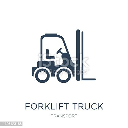 forklift truck icon vector on white background, forklift truck trendy filled icons from Transport collection, forklift truck vector illustration