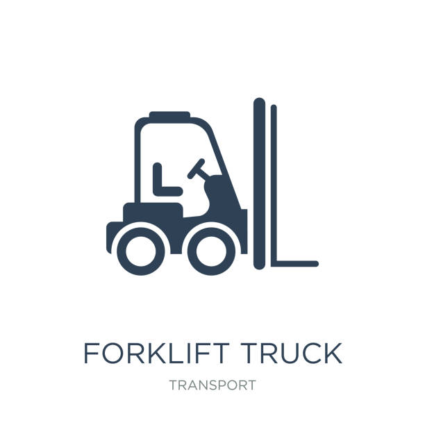 forklift truck icon vector on white background, forklift truck trendy filled icons from Transport collection, forklift truck vector illustration forklift truck icon vector on white background, forklift truck trendy filled icons from Transport collection, forklift truck vector illustration south caucasus stock illustrations