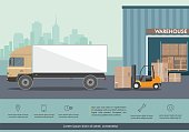 Forklift truck in warehouse. Truck loading in the warehouse building. Vector illustration