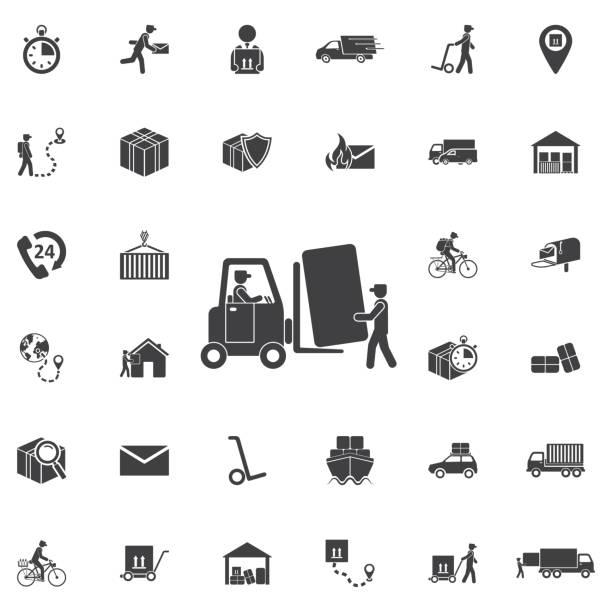 gabelstapler-lkw-ladung mit box. - kastenständer stock-grafiken, -clipart, -cartoons und -symbole