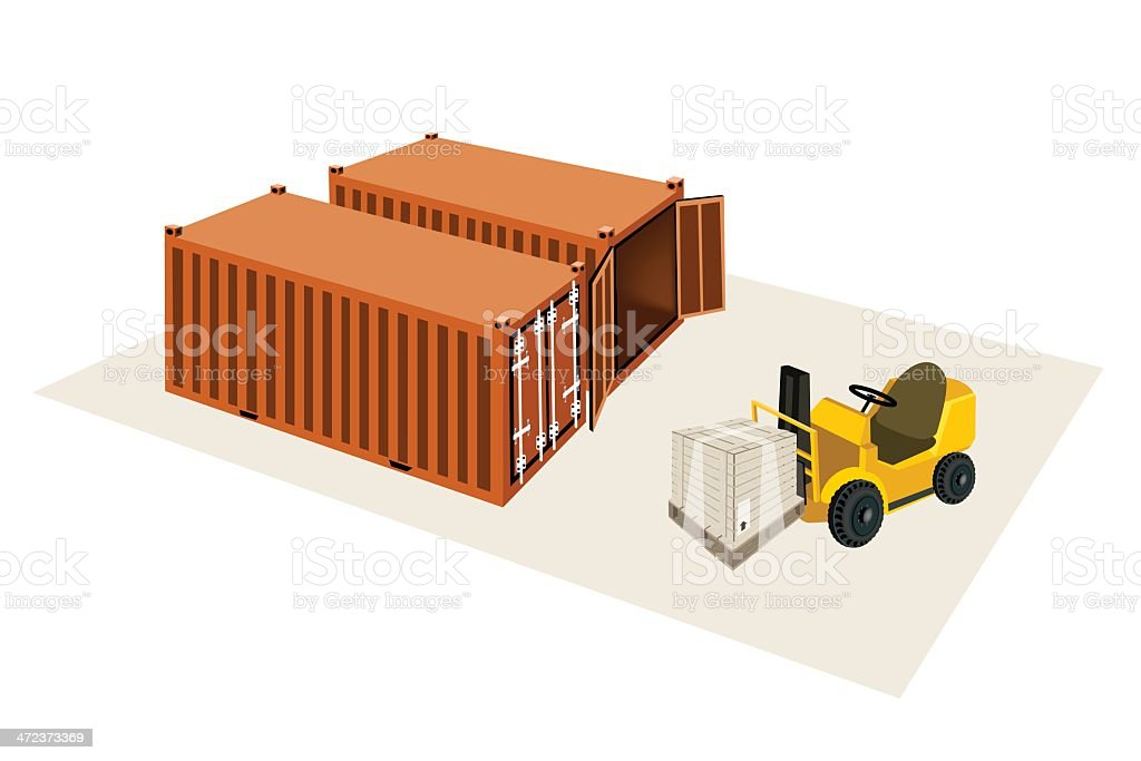 Forklift Truck Loading A Shipping Box into Container royalty-free stock vector art