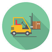 ForkLift Truck With Boxes Logistics Delivery And Transport Long Shadow Flat Design Icon