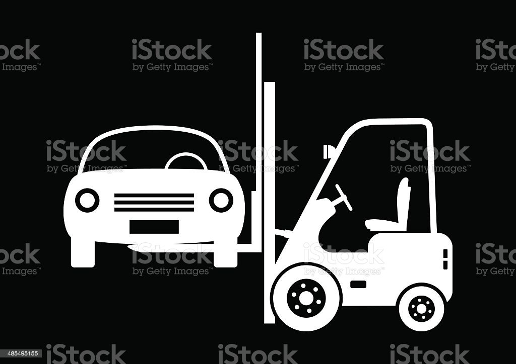 Forklift truck with car royalty-free stock vector art