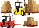 Forklift trucks in red and yellow plus pallets