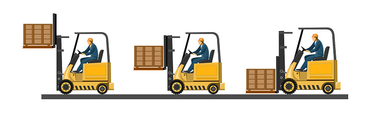 Forklift. Vector. Loading boxes, bricks, stones, barrels, cardboard packaging, bags, cement. Pallets for freight. Loader. Wooden pallets. Loading and unloading at the warehouse. Loader for logistics.