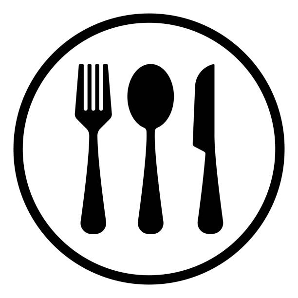 illustrazioni stock, clip art, cartoni animati e icone di tendenza di fork,spoon, and knife icon, outline vector - coltello posate