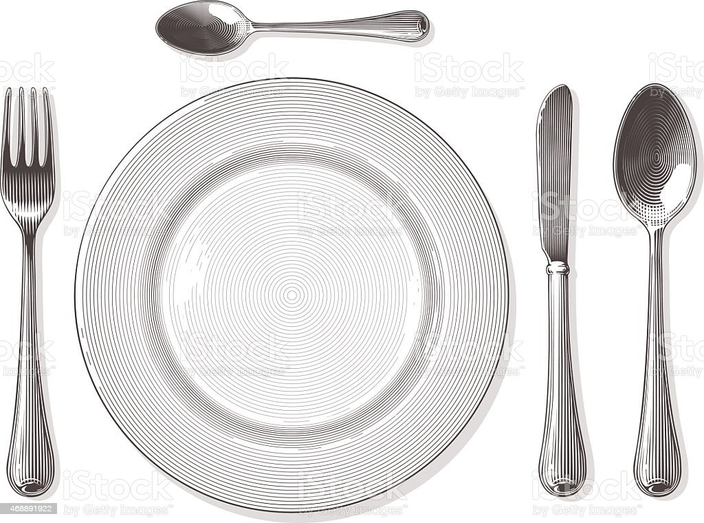 Gabel, Löffel, Messer, Teller mit Gravur Stil – Vektorgrafik