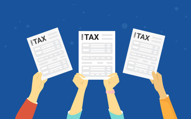 TAX form concept vector illustration of people showing fullfilled papers TAX form concept vector illustration of people showing fullfilled papers. Flat human hands hold white letters and annual fullfilled indiviual inmome tax forms on blue background taxes stock illustrations