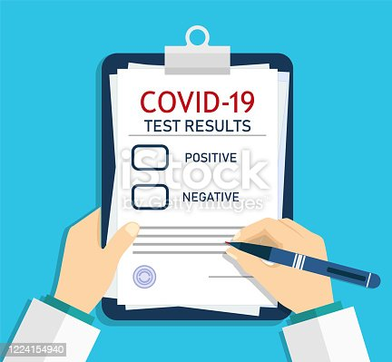 istock Form of covid report. Medical checklist with laboratory clinical result of coronavirus after test. Doctor registered, record virus after analysis. Checkup of health. Man writing prescription. Vector 1224154940