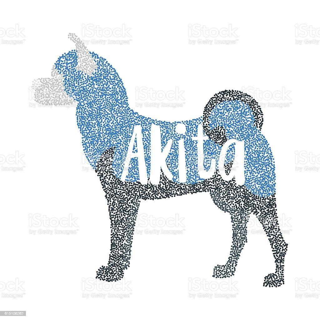 Form of round particles akita breed dog – artystyczna grafika wektorowa