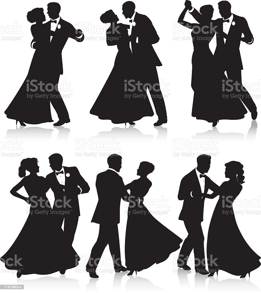 Formal dance silhouettes vector art illustration
