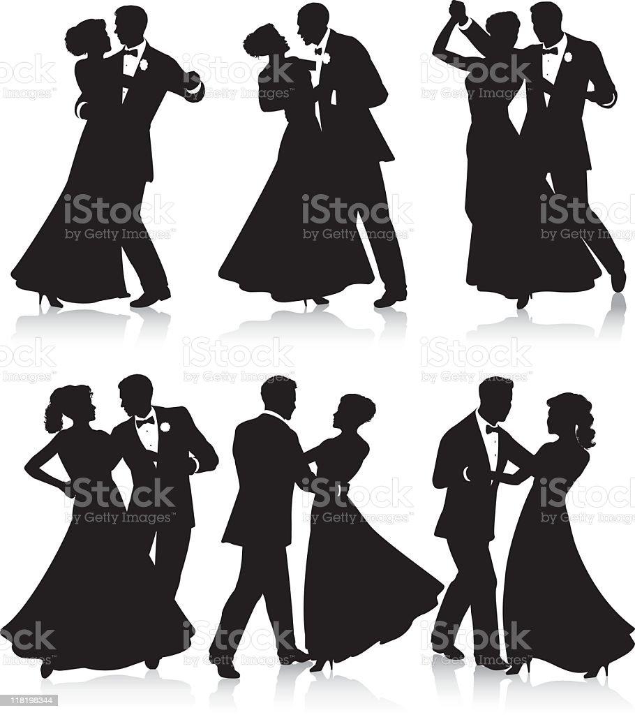 Silhuetas de dança Formal - ilustração de arte em vetor