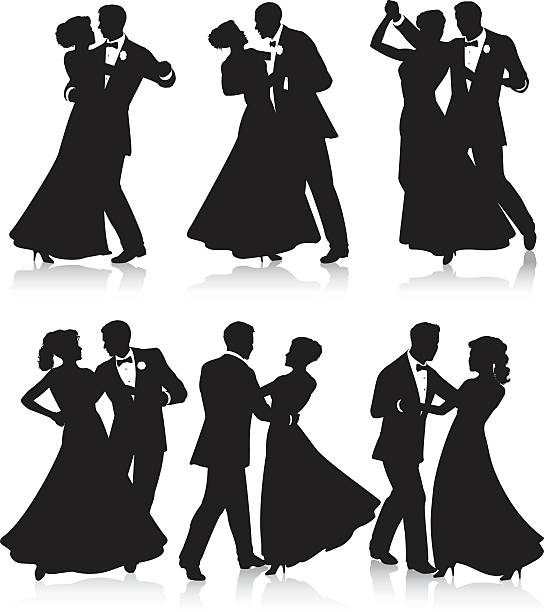 formal dance silhouettes - couples stock illustrations, clip art, cartoons, & icons