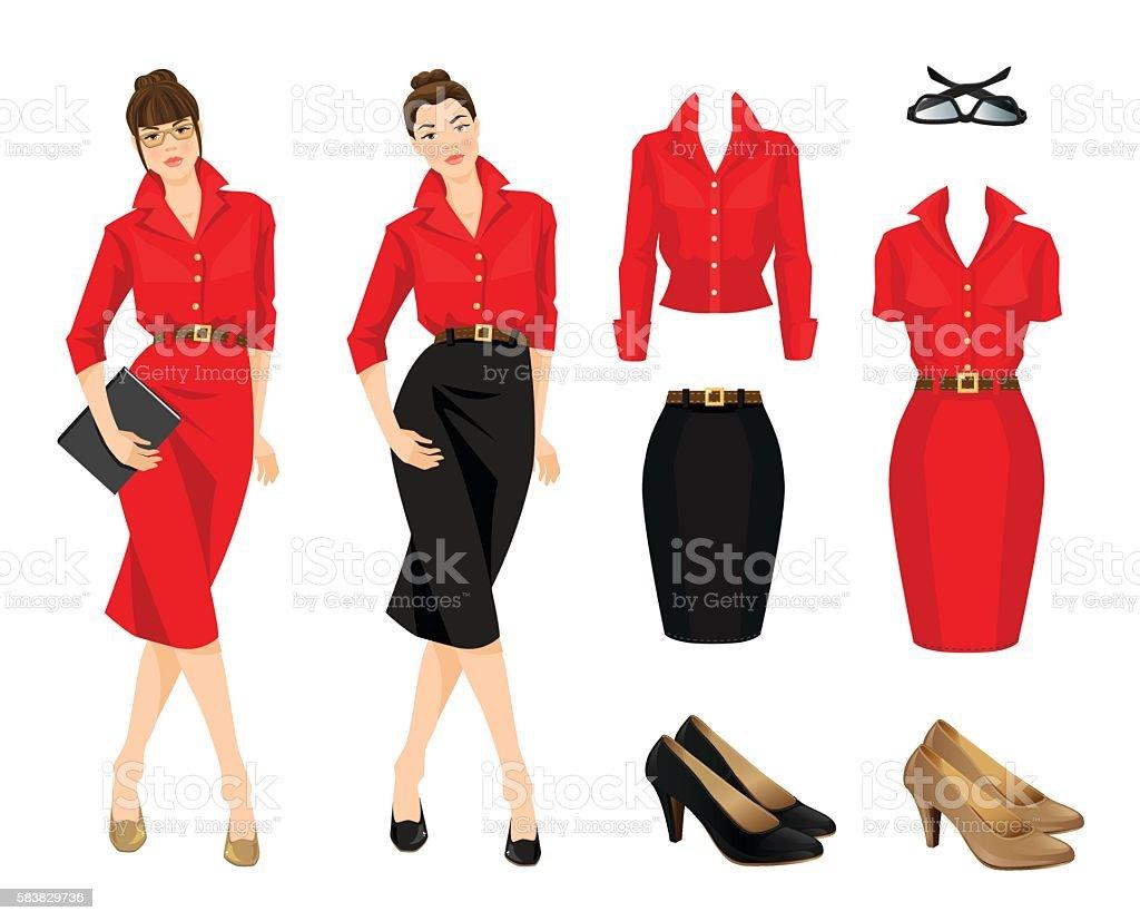 Formal dress, blouse and shoes - ilustración de arte vectorial