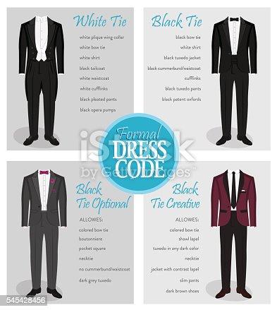 formal dress code guide for men stock vector art  more