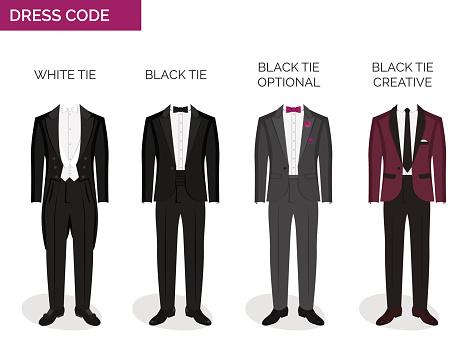 formal dress code guide for men stock illustration