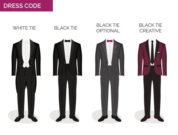 Formal dress code guide for men Formal dress code guide information chart for men. Suitable outfits for formal events for men. Tuxedo jacket, bowtie, patent oxford shoes and other elements. tuxedo stock illustrations