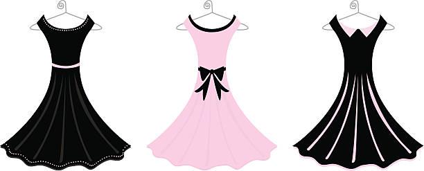 formal dresses - prom fashion stock illustrations, clip art, cartoons, & icons