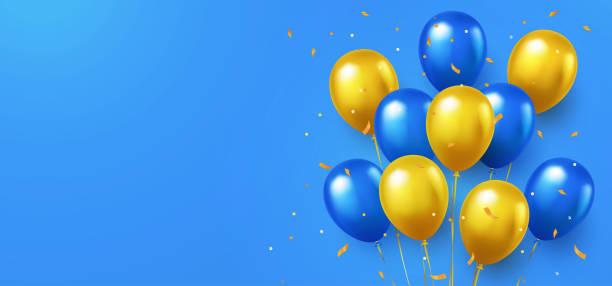 リアルな飛行ヘリウム風船と国の青と黄色の色で正式な挨拶のデザイン。 - ウクライナ点のイラスト素材/クリップアート素材/マンガ素材/アイコン素材