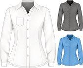 Formal long sleeved blouses for lady. Vector illustration.