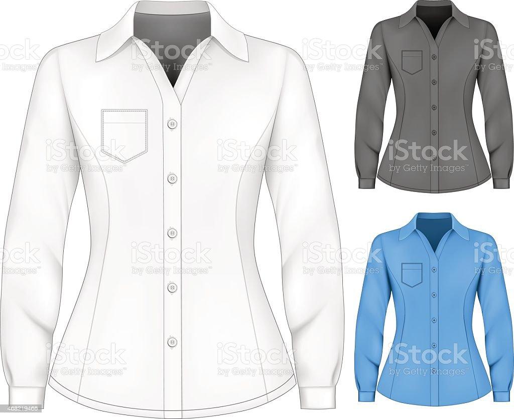 Formal de manga larga blouses para señora. - ilustración de arte vectorial