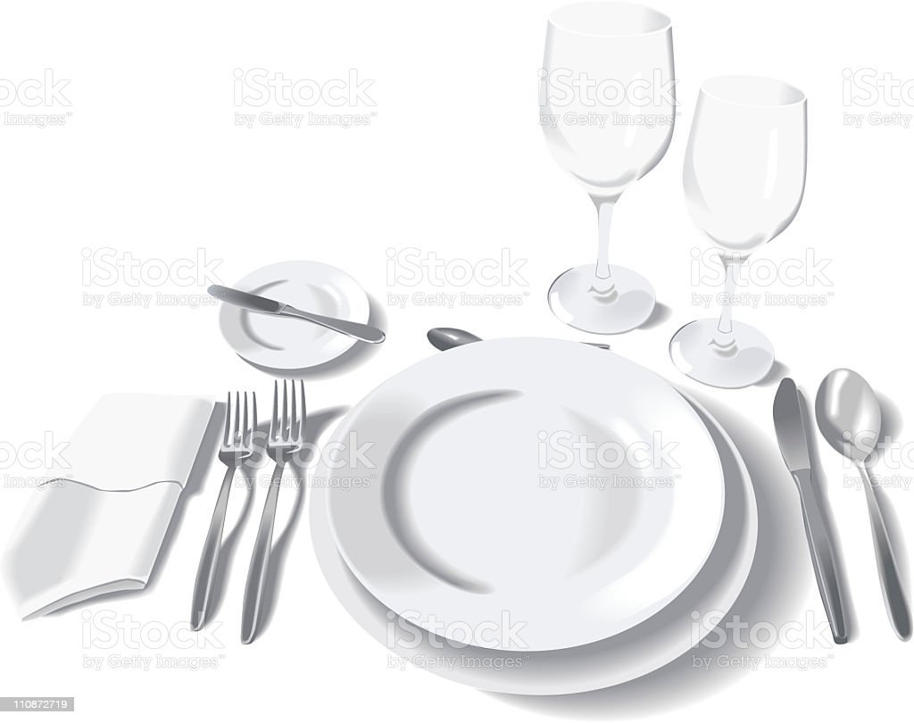 Formal place setting isolated on white - vector vector art illustration