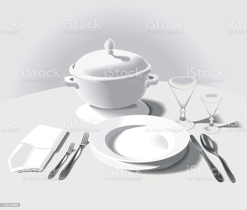 Formal place setting - with soup bowl royalty-free stock vector art