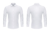 Isolated formal white shirt with buttons for business or man long sleeve official cloth . Empty or blank realistic dress with collar. Front and back for uniform. Closeup or mockup for male apparel
