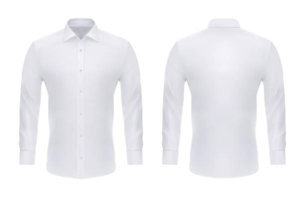 男のためのボタンが付くフォーマルなリアルなシャツ - 襟付きシャツ点のイラスト素材/クリップアート素材/マンガ素材/アイコン素材