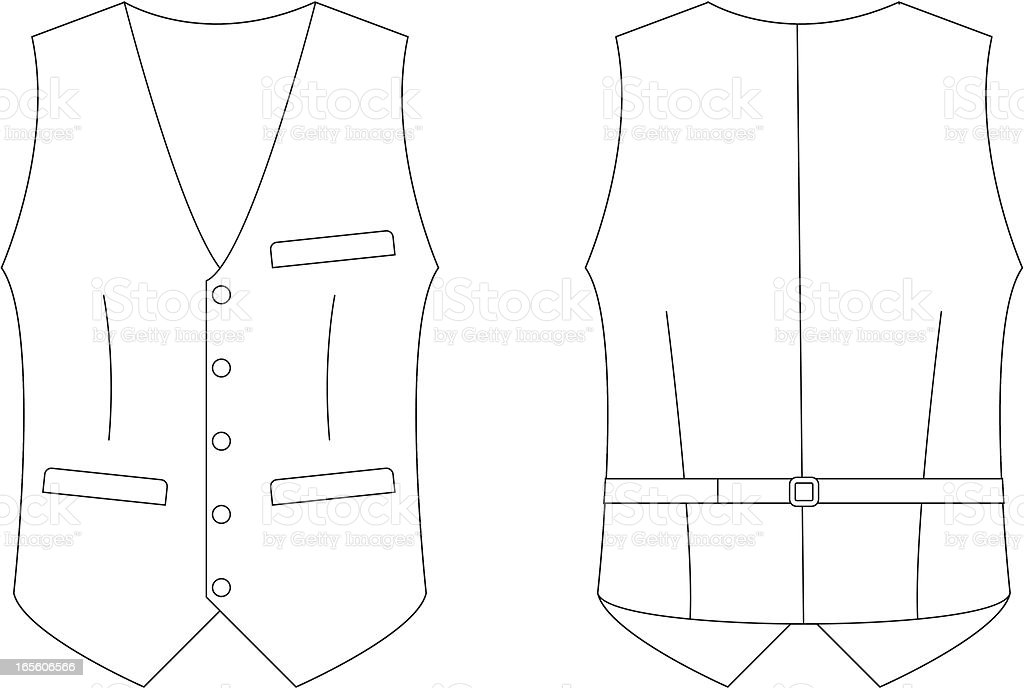 formal waistcoat template front back stock vector art