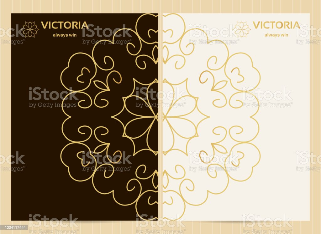 a4 format cards decorated with mandala in golden colorsvector