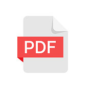 PDF format file isolated on white background.