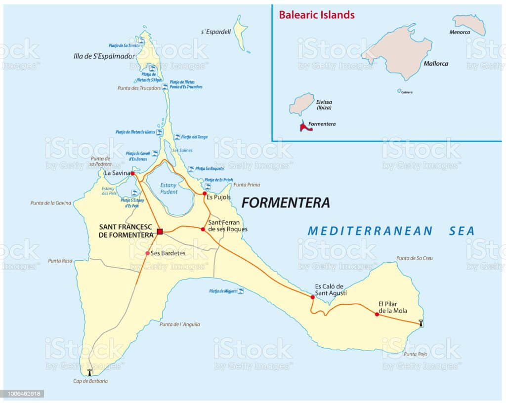 Formentera Road And Beach Map Stock Vector Art & More Images of ...